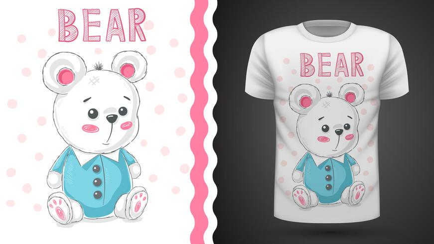 Teddy cute bear - idea for print t-shirt vector