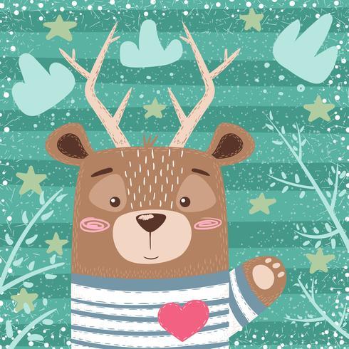 Oso lindo, ilustración de dibujos animados de ciervos. vector