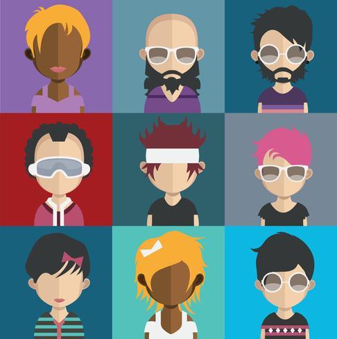 Människor avatarer med färgglada bakgrunder vektor