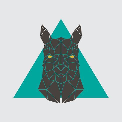 Polygonal head of Alpaca. Geometrical farm animal.