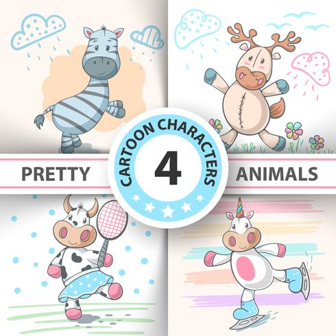 Set Cartoon animals cow, deer, bull, zebra, unicorn. vector