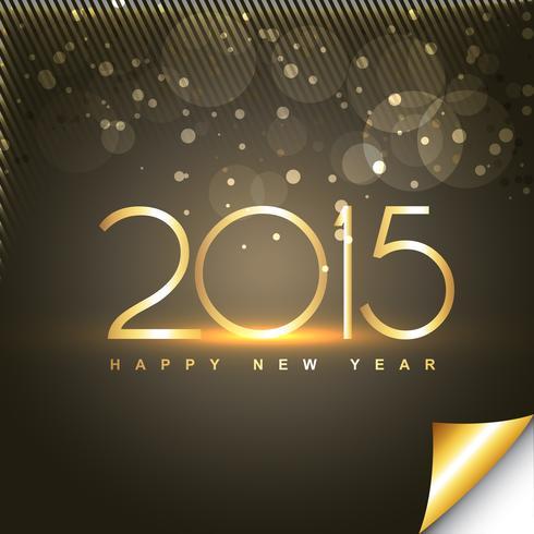 glänsande gott nytt år text i guld stil med genomskinliga cirklar vektor