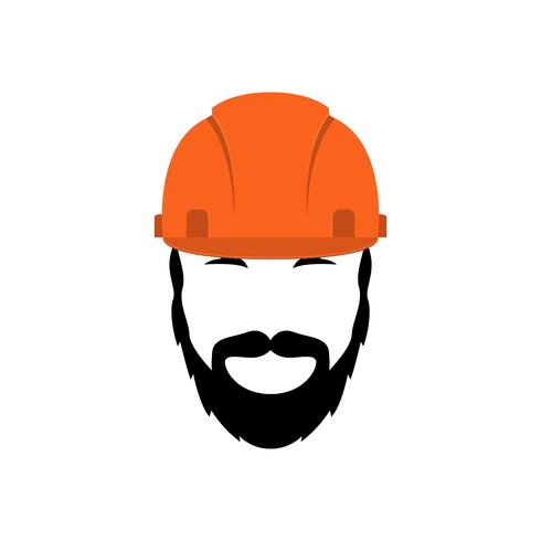 Portrait of a builder in an orange helmet with a beard and mustache. vector