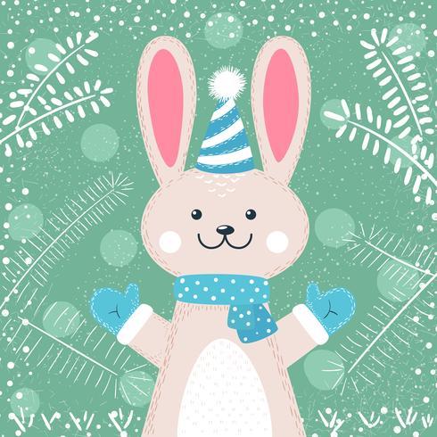 Personnages de lapin. Illustration mignonne d'hiver.