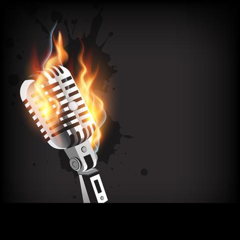 vektor brinnande mikrofon