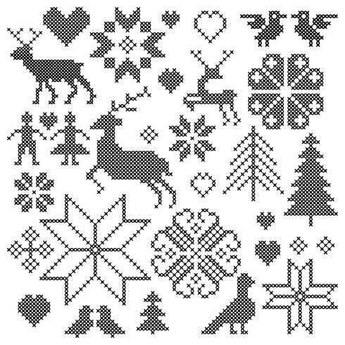 black embroidered nordic motifs clipart graphics vector