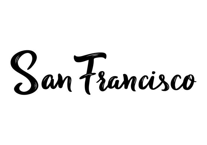 Caligrafía de letras de mano de San Francisco. vector