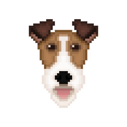 Tête de chien Fox Terrier en style pixel art.