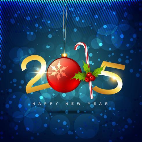 2015 felice anno nuovo design con palla di Natale e caramelle