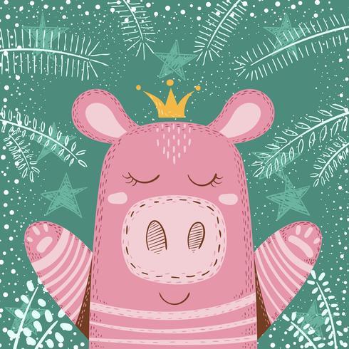 Cute winter pig - children illustration.
