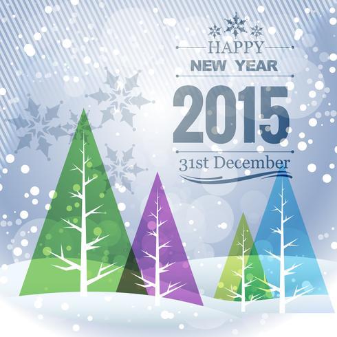 Tarjeta de felicitación de feliz año nuevo con coloridos árboles de Navidad