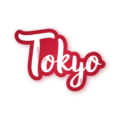 Tokyo - hand getrokken belettering zin. Sticker met letters in papierstijl knippen.
