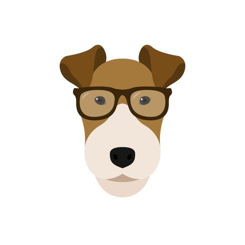 Fox Terrier cane con gli occhiali.