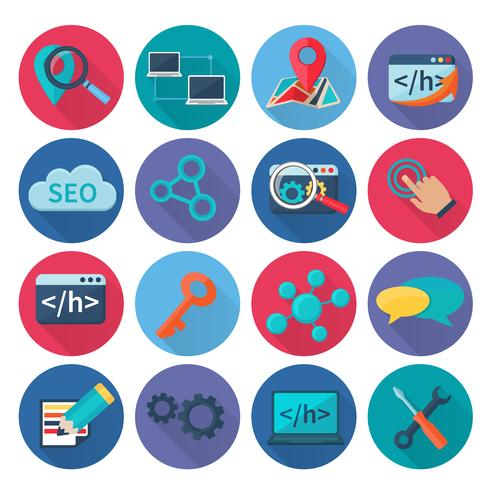 Seo Marketing Icons Flat vector
