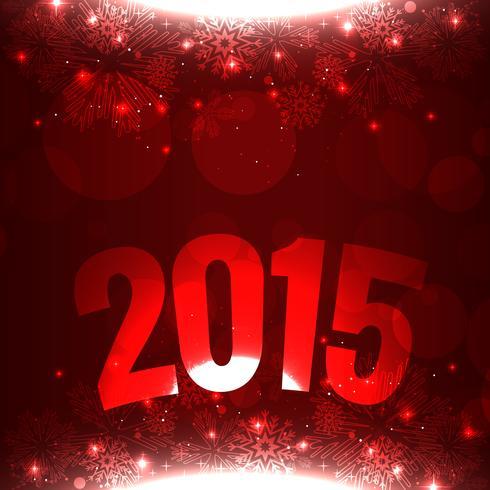 2015 escrito en curva sobre fondo rojo con copos de nieve.