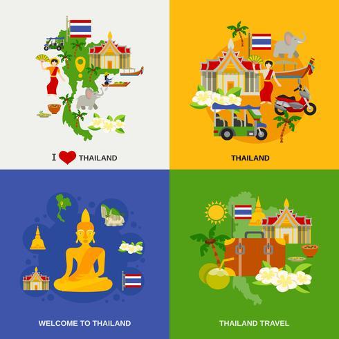 Ensemble d'icônes de tourisme en Thaïlande vecteur