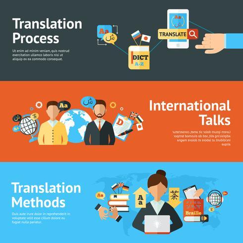Conjunto de banners de traductor de idiomas vector