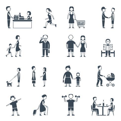 Conjunto de iconos planos de la vida diaria