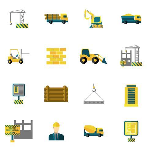 Iconos de construcción plana