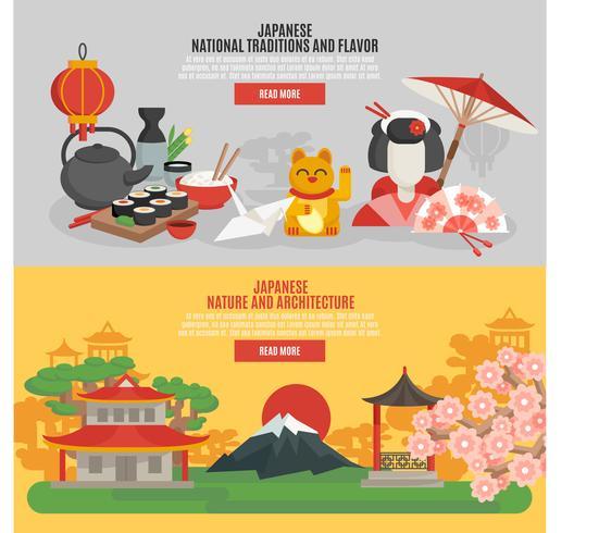 Conjunto de banners planos de tradición japonesa vector