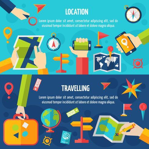 Ensemble de bannière de localisation et de voyage