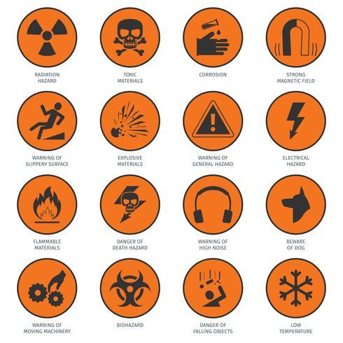 Icônes de danger noir