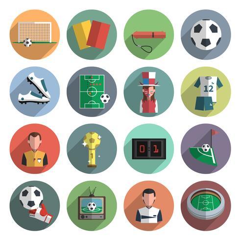 Iconos de fútbol conjunto plano vector