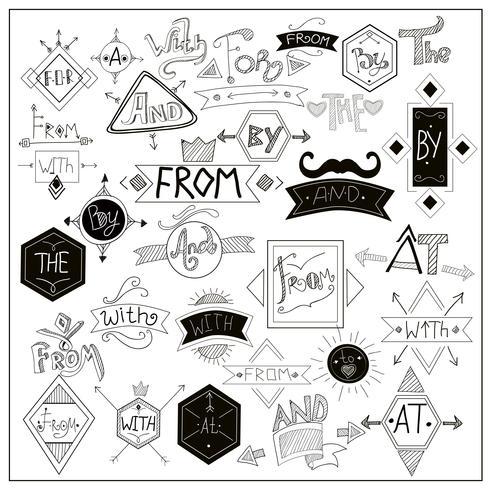 Símbolos de palabras clave negras en la pizarra