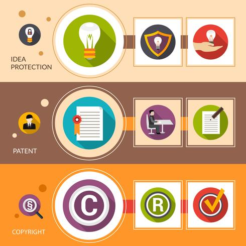 Patent Idea Protection Banner Set vector