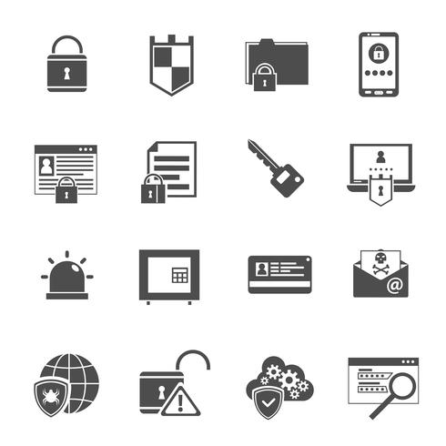 Computer security icons set black