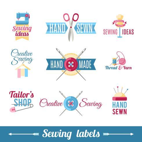 Collection de pictogrammes étiquettes de couture