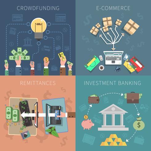 ensemble de concept de design de banque