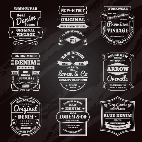 Conjunto de emblemas de lousa de tipografia de jeans