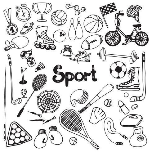 set di doodle di sport vettore