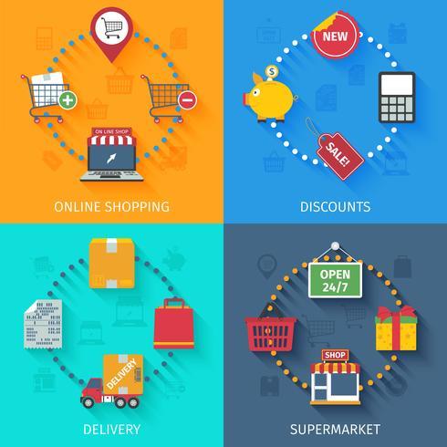 Shopping koncept ikoner uppsättning vektor