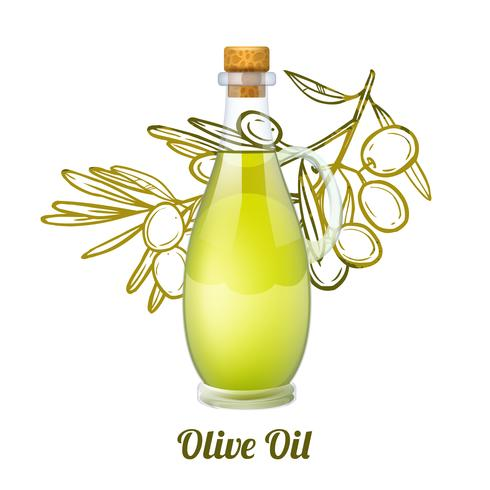 Olive Oil Sketch Concept vector