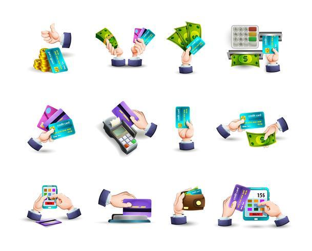 Icone di pagamento con carta di credito mani impostate