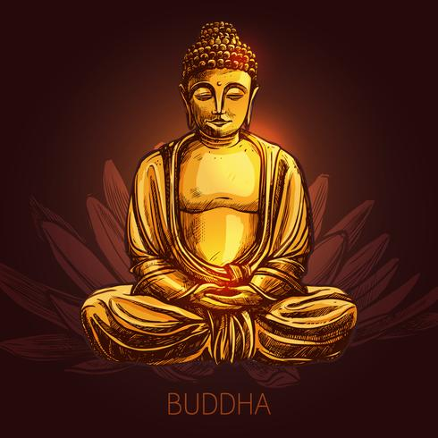Bouddha sur illustration de fleur de lotus vecteur