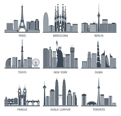 Urban Skylines Icons Set  vector