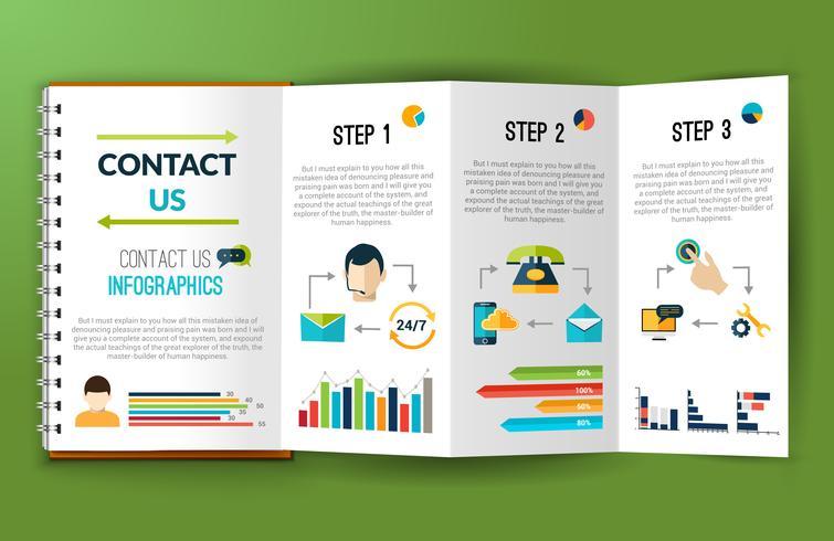 Neem contact met ons infographics notitie map