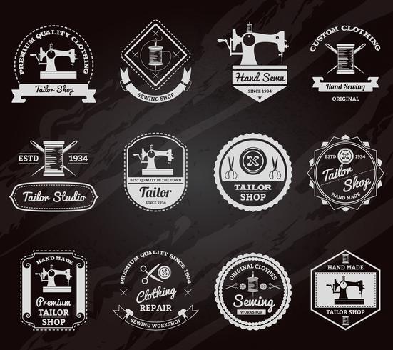 Conjunto de ícones de rótulos de lousa loja de alfaiate