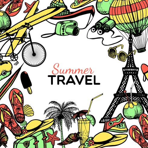 Travel Doodle Frame vector