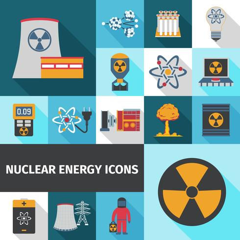 Nuclear energy icons set flat