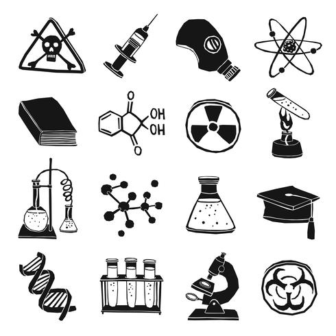 Black and white laboratory chemistry icon set