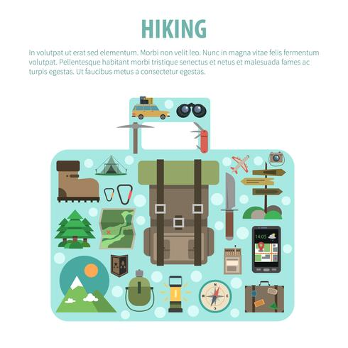 Hiking concept baggage shaped icons composition vector