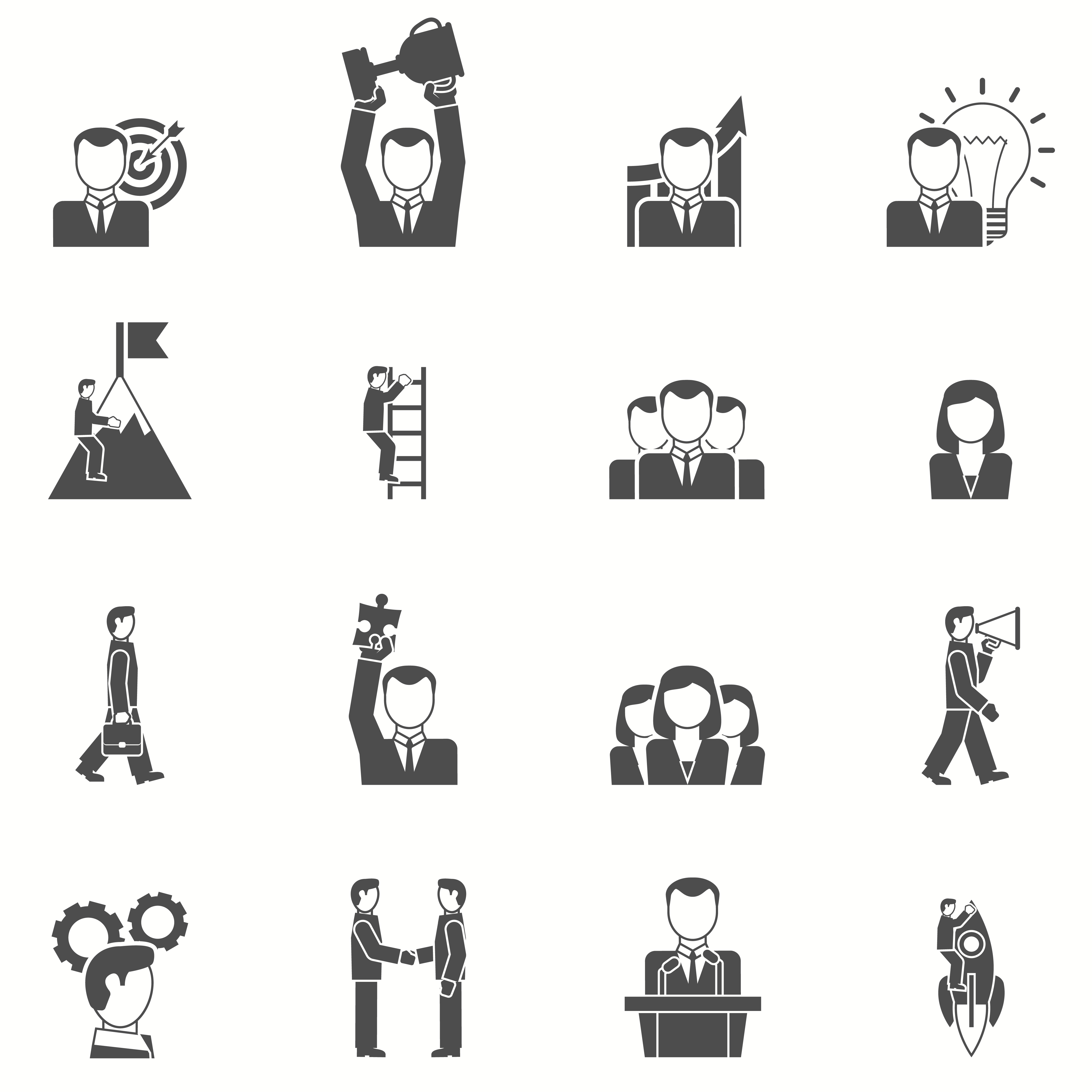 Leadership Black White Icons Set Download Free Vectors Clipart Graphics Vector Art