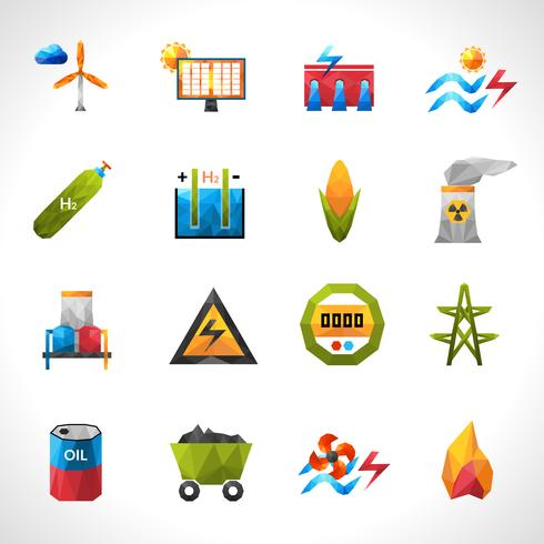 Power Plant Polygonal Icons vector
