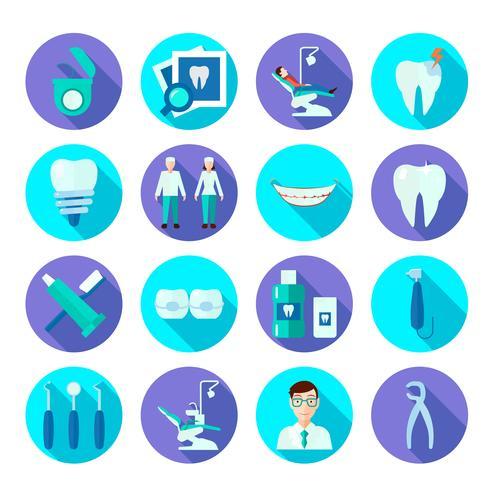 Set di icone piatto dentale vettore