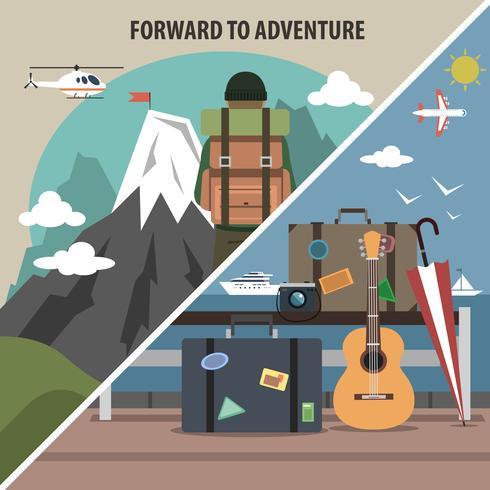 Viajes senderismo diagonal banner vector