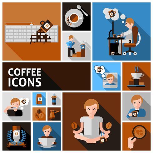 Ensemble d'icônes café